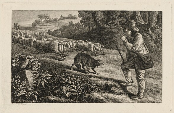 A Shepherd Scolding His Dog for Letting His Sheep Run Away