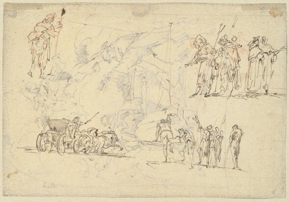 Figure Studies and a Horse-Drawn Carriage (recto)