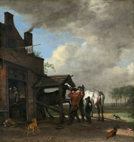 Two men hold the mouth of a horse open to work on its teeth as a third, short boy or man looks on in front of a building to our left, in which a blacksmith works in this vertical painting. All the people have peach colored skin. The dark horse with a white stripe down its nose stands in a small, shed-like enclosure covered with a peaked roof, which is attached to the brick blacksmith's shop. A balding man with a white beard and fringe of white hair, and wearing glasses, a tattered crimson-red shirt, and dark pants, holds a long, rod-like instrument in the horse's gaping mouth. A hat lays on the ground near his feet. The man next to him is cleanshaven and wears a tall hat, a dark jacket with red sleeves, and dark pants and boots. He stands facing the horse with his mouth and eyes wide open. The horse's nose is caught in long-handled, vice-like tongs, presumably to make the horse show its teeth. A noticeably shorter man or boy stands behind the pair, to our right, and looks on. He wears a tall, floppy hat, and his dark clothes are worn. His face is deep in shadow under the hat but he might have a mustache and beard.  A white horse stands with its rump angled toward us behind the trio. Almost lost in shadow, a wide-shouldered man works on a hot piece of metal, glowing orange, next to a fire just inside the doorway to the building. Charcoal gray smoke pours from a chimney on the roof. One dog lays down in front of the door and another frolics nearby. A chicken and a rooster peck at the dirt ground to our right. The horizon of the tree-lined landscape comes about a quarter of the way up the composition, and cream-colored, puffy clouds float across a blue sky above. Two people stands near a cow in the deep distance, near the trees.