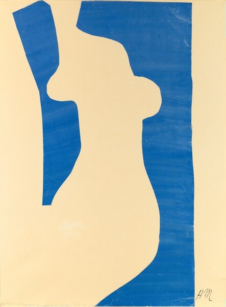 """Two pieces of cut royal-blue paper are affixed to a cream-colored background in this vertical composition. The blue paper is cut to resemble an abstracted female form with a neck, shoulders, a breast to each side, a waist, and the curve of hips. The blue paper on our right spans the height of the composition and the left piece is shorter, cutting off at what could be the hip. The placement of the blue pieces also creates a vertical white border along each side. The blue is painted in horizontal strokes so streaks are visible. The artist signed the work with his initials near the lower right corner, """"HM."""""""