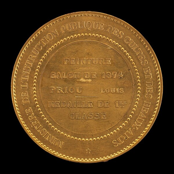 1874 Salon Medal for Painting to Louis Priou [reverse]
