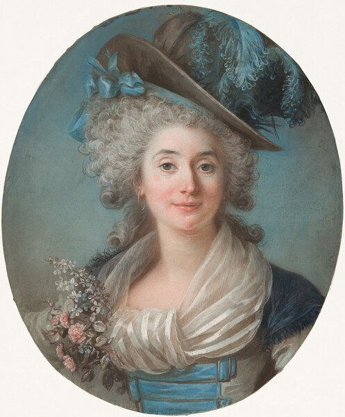 A Fashionable Noblewoman Wearing a Plumed Hat