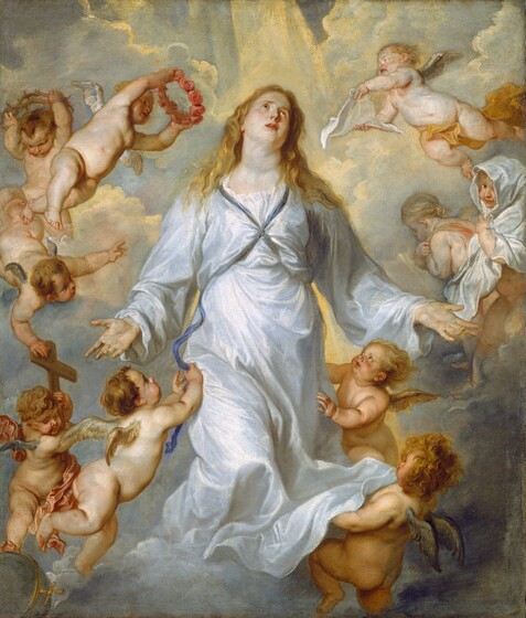 Golden yellow light pours onto a bank of clouds behind a young woman with ivory-colored skin and long, blond hair, wearing a flowing pale blue robe, who floats at the center of a ring of ten mostly nude, baby-like winged angels in this vertical painting. Her body faces us and her knees seem to be bent so her feet are lost in the clouds. She holds both hands out by her sides, palms facing out. Her head is tipped slightly back and to our right and she looks up with light brown eyes, her pink lips parted. Her golden hair falls loosely in waves to her shoulders. Her long-sleeved, voluminous garment is tied with a navy-blue ribbon that crosses her chest between her breasts and is presumably tied across her back. The ten angels have peachy, pale skin with small, golden or silver wings at their shoulder blades. Five angels hover around the to each side. To our left, one angel plays with the end of her blue ribbon while below, another holds a wooden cross. The angel holding the cross rests one foot on an iron-gray ball encircled with a gold band and ornamented with a gold cross. Another angel touches the top of the wooden cross and gestures towards the woman. Near her shoulder, one angel holds a crown of thorns above its head while another raises a ring of pink roses as if to place on the woman's head. To our right, near the woman's head, an angel holds a piece of cloth like a handkerchief towards her face while one below holds a larger drapery around its head like a hooded cloak as it looks out at us and smiles. The bottom-most angels hold her fluttering dress and look up at her face. A streak of warm light pours down from the top center, casting yellow light on the tops of the powder-blue clouds.