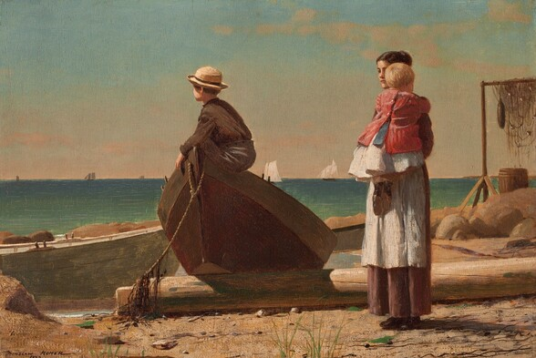 """A woman holding a baby stands near a young boy who perches in the tipped-up end of a rowboat that has been pulled onto a sandy beach in this horizontal painting. All the people have light skin. The turquoise and aquamarine ocean beyond meets the pale blue sky at the horizon line, about halfway up the composition. To our left of center, one end of the wooden rowboat has been propped on what might be a fallen piling on the sandy, rocky beach. The boy sitting in the bow faces our left almost in profile, and wears a round, brimmed straw hat over brown hair, a chocolate brown, long-sleeved shirt, and charcoal gray pants. His face turns away from us so we only see his cheek and the curve of his ear. To our right, the woman's dark hair is pulled up and she wears a white apron over a long brown skirt. She stands angled to our right and looks over the shoulder of the blond baby she holds up against her chest. The child is dressed in a white skirt, blue sash, a red jacket, and black shoes. The beach around the people is strewn with another rowboat, large boulders, a wooden barrel, and fishing nets hung over a tall frame to dry. A few tufts of scrubby grass grow in the sand around the woman's feet. The white sails of several ships line the horizon in the deep distance. Thin, ivory-colored clouds turn the icy-blue sky almost peach where it meets the water. The artist signed and dated the work in dark paint in the lower left corner: """"WINSLOW HOMER 1873."""""""