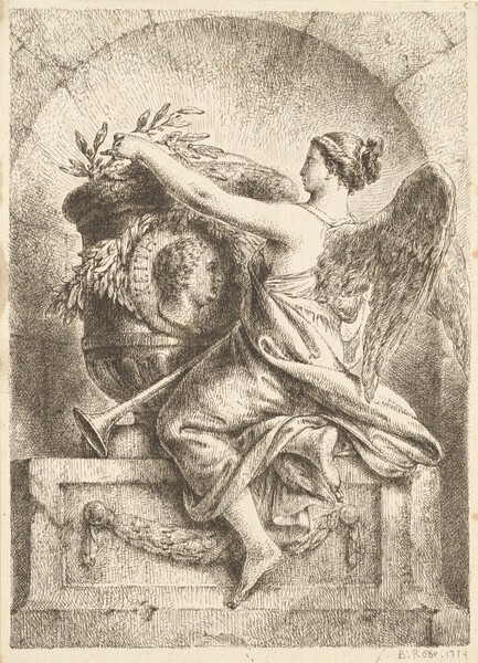 The Goddess of Fame Placing a Laurel Wreath on the Memorial to General Keith