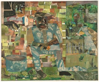 "Made with mostly square or rectangular pieces of patterned paper in shades of asparagus and moss green, sky blue, tan, and ashy brown, a man with dark skin sits in the center of this horizontal composition with a second person over his shoulder, in the upper left corner of this collage. The man's facial features are a composite of cut-outs, mostly in shades of brown and gray, as if from black-and white photographs, and he smokes a cigarette. He sits with his body angled slightly to our right and he looks off in that direction, elbows resting on thighs and wrists crossed. His button-down shirt and pants, similarly collaged, are mottled with sky blue and white. One foot, on our right, is created with a cartoonish, shoe-shaped, black silhouette. The paper used for the other foots seems to have been scraped and scratched, creating the impression that that foot is bare. A tub, made of the same blue and white paper of the man's suit, sits on the ground to our left, in the lower corner. The man seems to sit in front of a cabin made up of green and brown pieces of paper patterned with wood grain. In a window in the upper left, a woman's face, her features similarly collaged, looks out at us. One dark hand, large in relation to the people, rests on the sill with the fingers extended down the side of the house. The right third of the composition is filled with papers patterned to resemble leafy trees. Closer inspection reveals the form of a woman, smaller in scale than the other two, standing in that zone, facing our left in profile near a gray picket fence. She has a brown face, her hair wrapped in a patterned covering, and she holds a watermelon-sized, yellow fruit with brown stripes. Several blue birds and a red-winged blackbird fly and stand nearby. Above the woman and near the top of the composition, a train puffs along the top of what we read as the tops of trees. The artist signed the work in black letters in the upper right corner: ""romare bearden."""