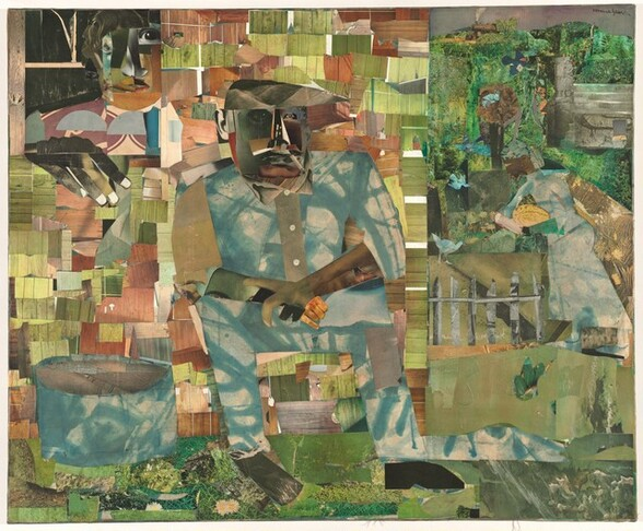 """Made with mostly square or rectangular pieces of patterned paper in shades of asparagus and moss green, sky blue, tan, and ashy brown, a man with dark skin sits in the center of this horizontal composition with a second person over his shoulder, in the upper left corner of this collage. The man's facial features are a composite of cut-outs, mostly in shades of brown and gray, as if from black-and white photographs, and he smokes a cigarette. He sits with his body angled slightly to our right and he looks off in that direction, elbows resting on thighs and wrists crossed. His button-down shirt and pants, similarly collaged, are mottled with sky blue and white. One foot, on our right, is created with a cartoonish, shoe-shaped, black silhouette. The paper used for the other foots seems to have been scraped and scratched, creating the impression that that foot is bare. A tub, made of the same blue and white paper of the man's suit, sits on the ground to our left, in the lower corner. The man seems to sit in front of a cabin made up of green and brown pieces of paper patterned with wood grain. In a window in the upper left, a woman's face, her features similarly collaged, looks out at us. One dark hand, large in relation to the people, rests on the sill with the fingers extended down the side of the house. The right third of the composition is filled with papers patterned to resemble leafy trees. Closer inspection reveals the form of a woman, smaller in scale than the other two, standing in that zone, facing our left in profile near a gray picket fence. She has a brown face, her hair wrapped in a patterned covering, and she holds a watermelon-sized, yellow fruit with brown stripes. Several blue birds and a red-winged blackbird fly and stand nearby. Above the woman and near the top of the composition, a train puffs along the top of what we read as the tops of trees. The artist signed the work in black letters in the upper right corner: """"romare bearden."""""""