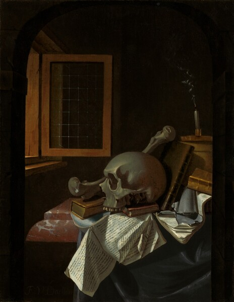 A human skull, large bone, books, papers, and a snuffed out, smoking candle are arranged on a marble tabletop near an open window in a darkened room in this vertical still life painting. The color palette is dominated by muted gray, slate blue, ivory, and tawny brown. The skull faces our left in profile and rests on two small, leather-bound books and papers with illegible black printing. The large bone, a thighbone, is propped up behind the skull on a taller book at the back of the skull's head. More books, papers, and a box are piled to the right. A brass candlestick with a flat, shallow, dish-like base rests on the box along the right side of the composition, above the skull. The end of the candlewick glows red and a wisp of smoke wafts upwards. The brick red of the marble tabletop is veined with gray and white, and black fabric drapes down off the right side of the table. The objects fill the lower half of the composition and are lit by light coming in through a window to our left. The wooden window frame swings inwards, into the room, and has small, leaded panes. The background is deep in black shadow.