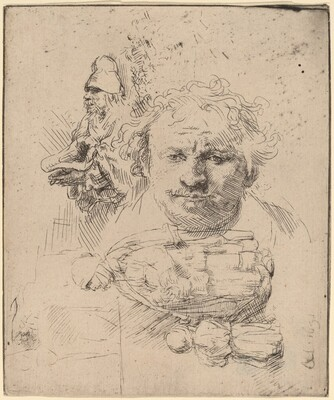 Sheet of Studies with the Head of the Artist, a Beggar Man, and Woman and Child