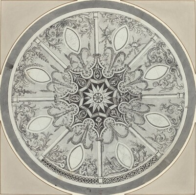 Design for an Inlaid Circular Table Top, with Alternatives