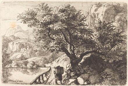 Peasant Walking along a River