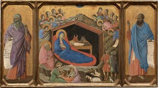 Duccio di Buoninsegna, The Nativity with the Prophets Isaiah and Ezekiel, 1308-1311