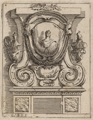 Architectural Motif with Bust and Two Lamps