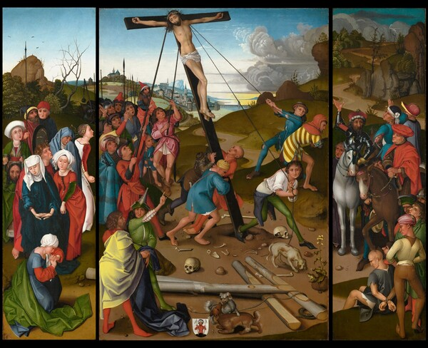 The Raising of the Cross [center, left, and right panels]