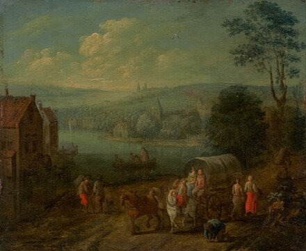 River Landscape with Villages and Travelers [verso]