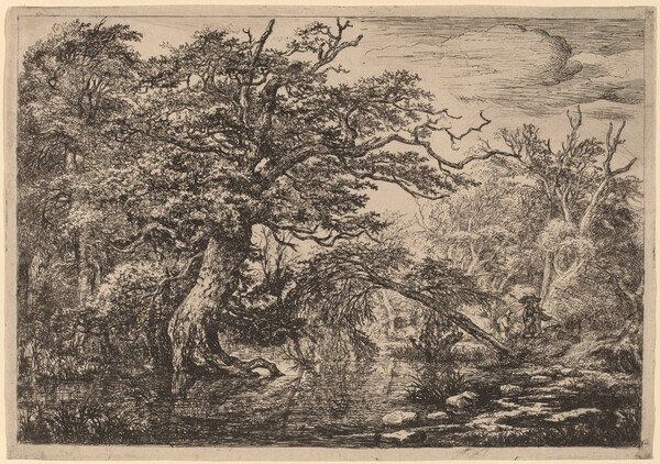 A Forest Marsh with Travelers on a Bank (The Travelers)