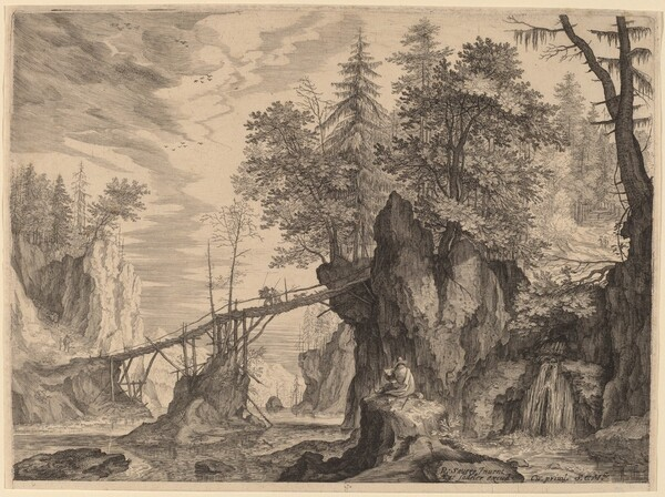 Draughtsman on a Stone before a Bridge
