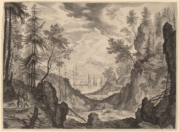 Woodland Scene with a Waterfall