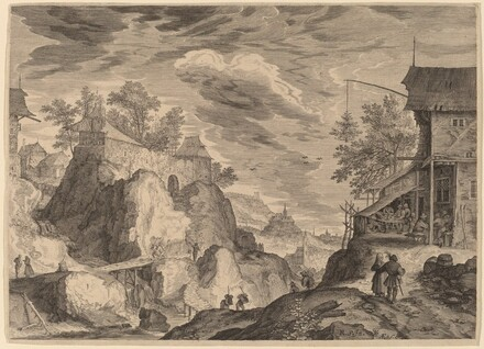Landscape with an Inn to the Right and House on Rocks to the Left