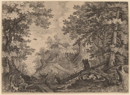 Woodland Scene with Two Hunters and a Dog to the Left