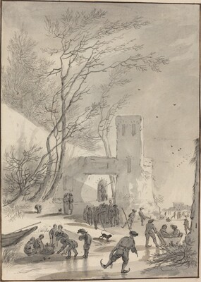Skaters Outside a City Wall