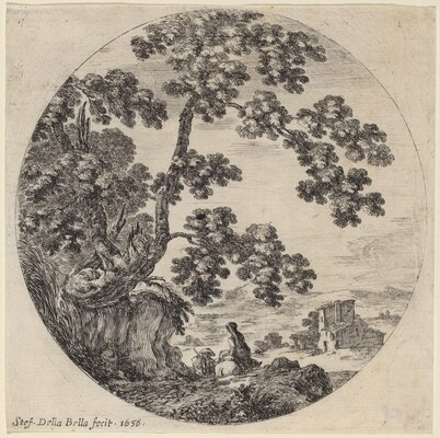 Two Travelers Passing by an Old Oak Tree
