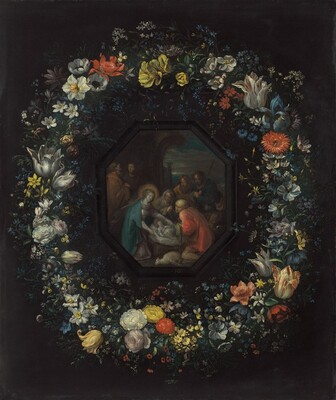 Garland of Flowers with Adoration of the Shepherds