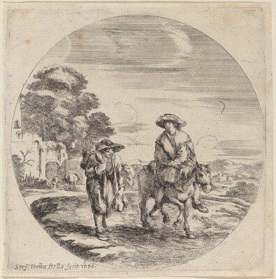 Two Peasants Traveling in a Landscape