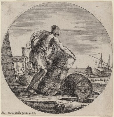 Galley Slave Hauling a Ship's Cargo