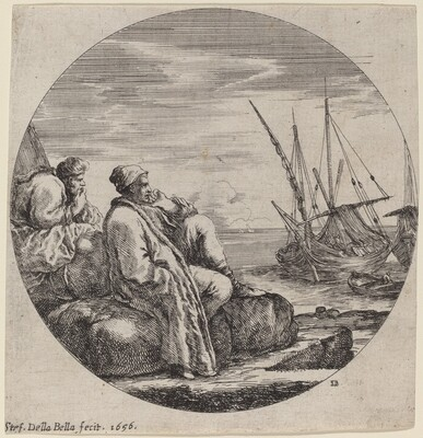 Seaport with Two Turkish Merchants
