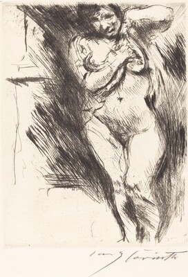 Woman Undressing (Akt mit hochgehobenem Hemd)