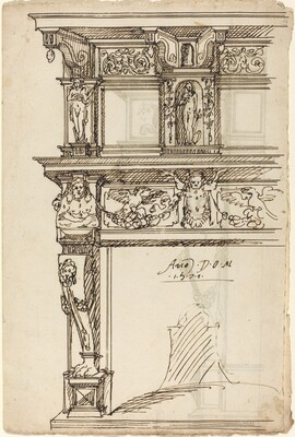 Palatial Mantelpiece with Mercury and Hope [recto]
