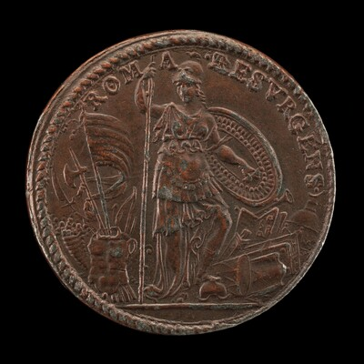 Allegory with the Figure of Roma, as Minerva, Standing Armed amid Trophies [reverse]