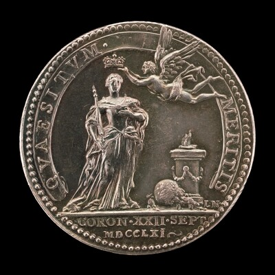 Fame Crowning the Queen before an Altar [reverse]