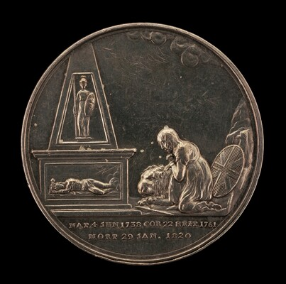 Britannia Grieving before Monument of the Stricken King, Guarded by Pallas [reverse]
