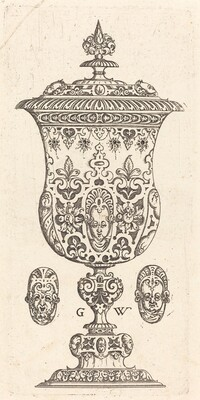 Goblet with two Masques on lid