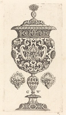 Goblet, rim decorated with masque with  gaping mouth