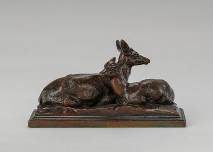 Reclining Doe and Deer