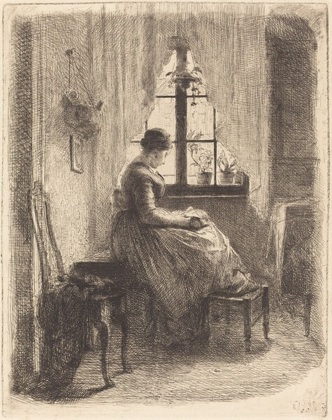 Young Woman Reading by a Window