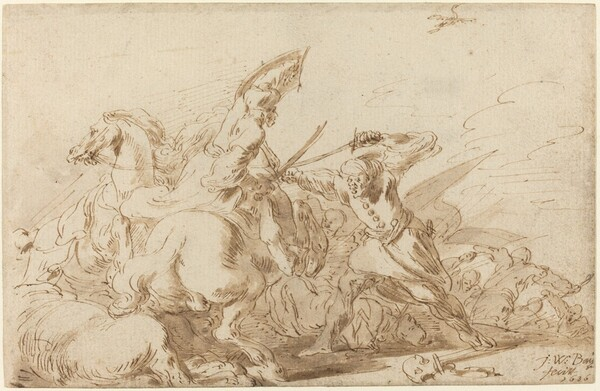 A Battle between Oriental Cavalry and Soldiers