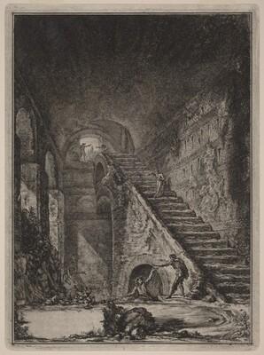 Prospettiva della Scala della conserva d'acqua de' già detti alloggiamenti, accennati in pianta nella Tav. XIII con la lett. G.