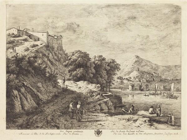 Vue d'Aqua Pendente sur la route de Sienne a Rome