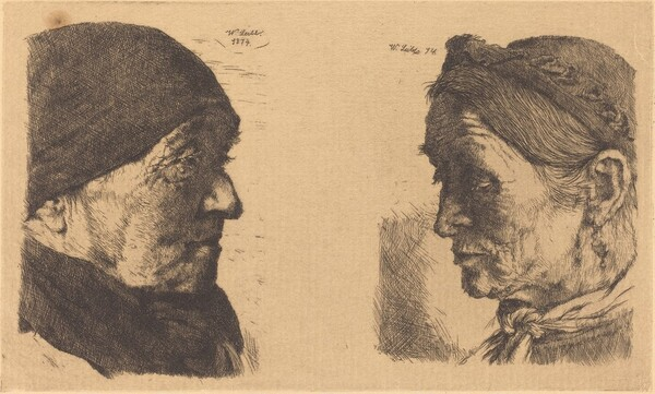 Portrait of an Old Peasant Woman, in Profile to the Right, and Peasant Woman with Closed Eyes