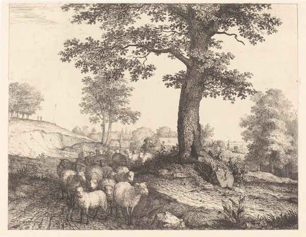 Shepherd and Flock under an Ancient Tree