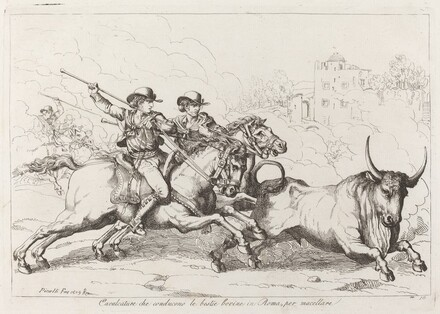 Cavalcature che conducono le bestie bovine in Roma, per macellare (Cattle Driven to the Slaughter in Rome) (Plate 16)