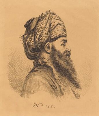 Profile Head of Oriental in Turban