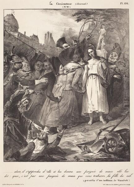 ...alors, il s'approcha d'elle: Parody of van Dyck's Betrayal of Christ