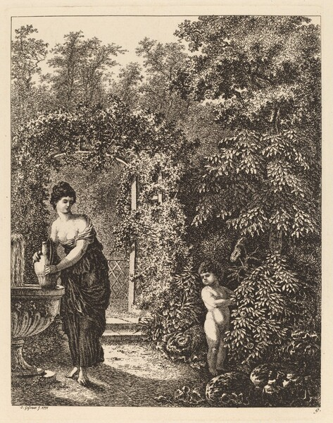 Putto Visiting a Girl at a Fountain