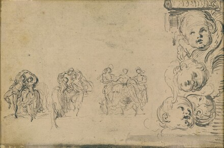 Sketches of Dancers and Heads of Putti