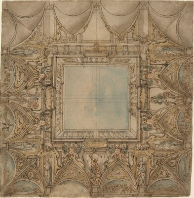 A Ceiling Decoration with Landscapes and Battles